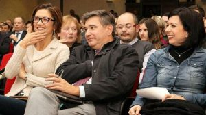 Mariastella Gelmini, l'ex sindaco di Brescia Adriano Paroli e Claudia Carzeri